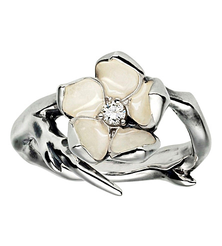 SHAUN LEANE Cherry Blossom silver, ivory enamel and diamond ring