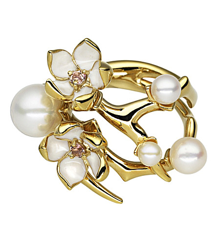 SHAUN LEANE Cherry Blossom yellow-gold vermeil, pearl and diamond ring