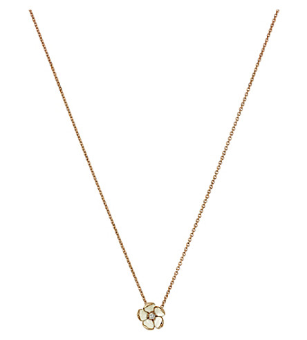 SHAUN LEANE Cherry Blossom rose-gold vermeil, ivory enamel and diamond pendant necklace large