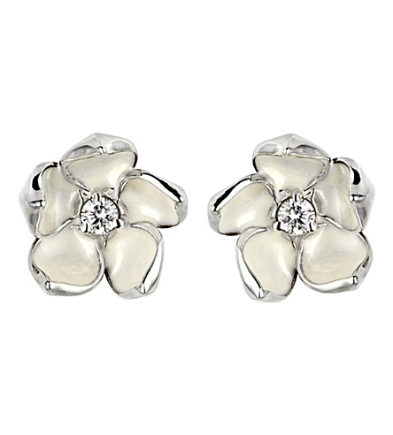 SHAUN LEANE Cherry Blossom silver, ivory enamel and diamond stud earrings large