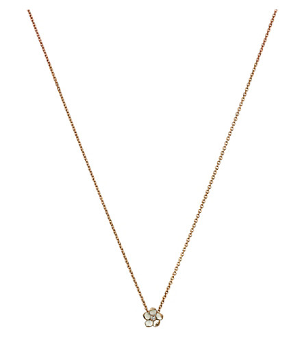 SHAUN LEANE Cherry Blossom rose-gold vermeil, ivory enamel and diamond pendant necklace small