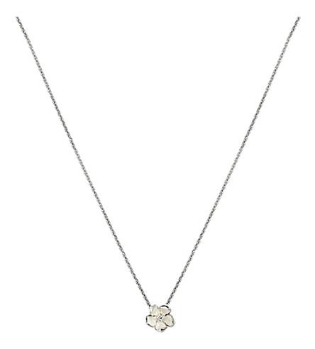 SHAUN LEANE 樱花银, 象牙搪瓷和钻石吊坠项链小