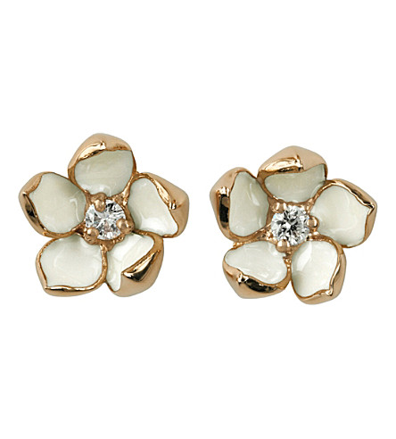 SHAUN LEANE Cherry Blossom rose-gold vermeil, ivory enamel and diamond stud earrings small