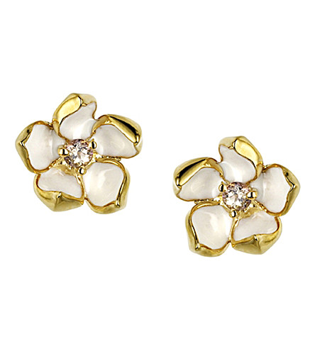SHAUN LEANE Gold vermeil sterling silver and diamond small blossom earrings
