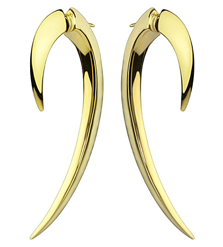 SHAUN LEANE Sterling silver and gold vermeil hook earrings size 1
