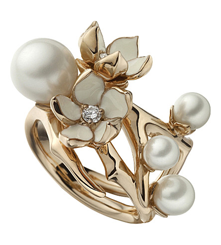 SHAUN LEANE Cherry Blossom rose-gold vermeil, white pearl and diamond ring