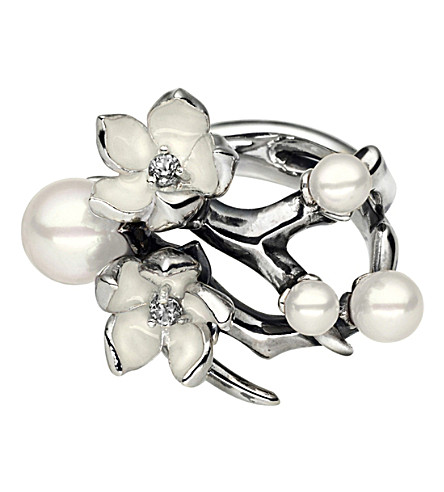 SHAUN LEANE Cherry Blossom silver, white pearl and diamond ring