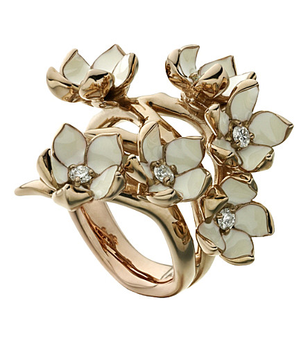 SHAUN LEANE Cherry Blossom rose-gold vermeil, ivory enamel and diamond full blossom ring