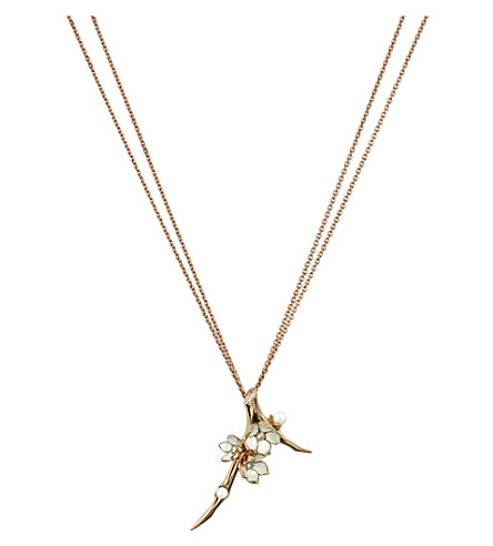 SHAUN LEANE Cherry Blossom rose-gold vermeil, ivory enamel, pearl and diamond branch pendant necklace large