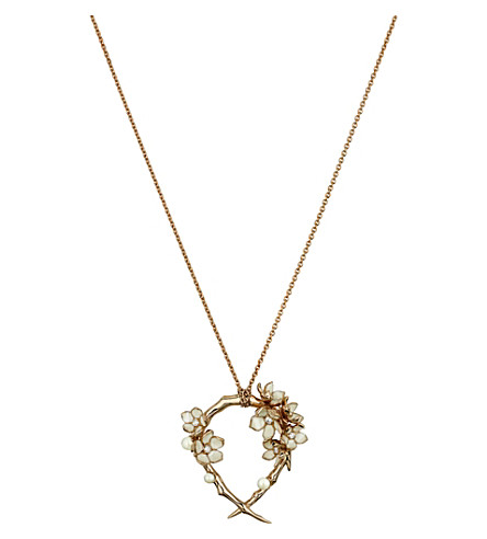 SHAUN LEANE Cherry Blossom rose-gold vermeil, ivory enamel, pearl and diamond hoop pendant necklace