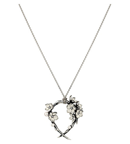SHAUN LEANE Silver Cherry Blossom Hoop pendant