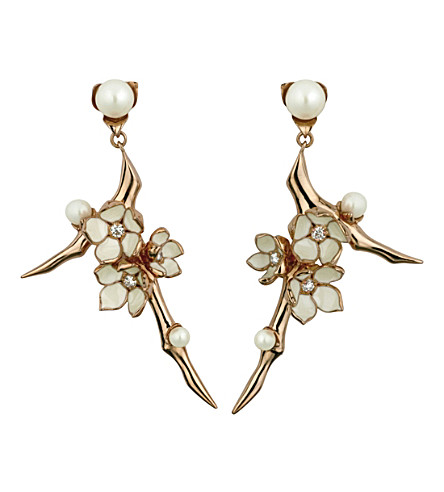 SHAUN LEANE Cherry Blossom rose-gold vermeil, ivory enamel, pearl and diamond branch earrings large