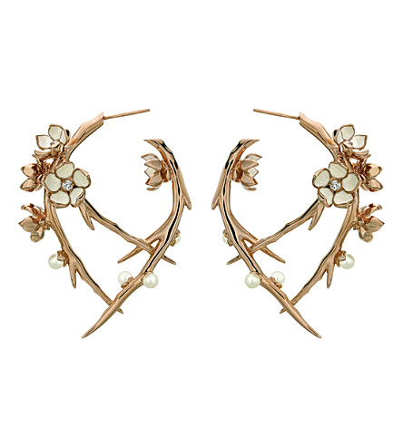 SHAUN LEANE Cherry Blossom rose-gold vermeil, ivory enamel, pearl and diamond hoop earrings
