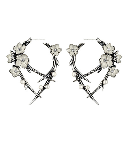 SHAUN LEANE Cherry Blossom sterling silver, diamond and pearl earrings
