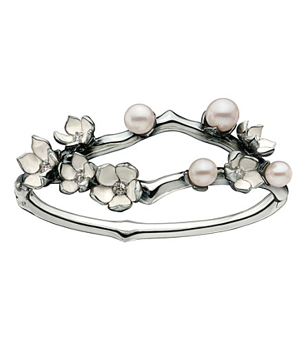 SHAUN LEANE Silver and diamond Cherry Blossom cuff