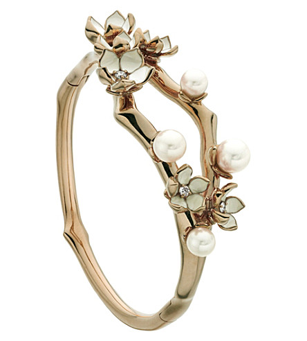 SHAUN LEANE Cherry Blossom rose-gold vermeil, ivory enamel, pearl and diamond cuff