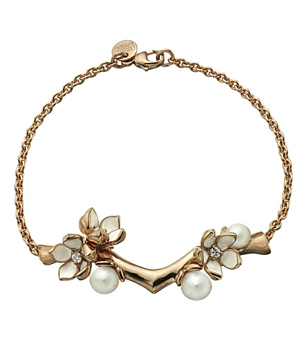 SHAUN LEANE Cherry Blossom rose-gold vermeil, ivory enamel, pearl and diamond branch bracelet