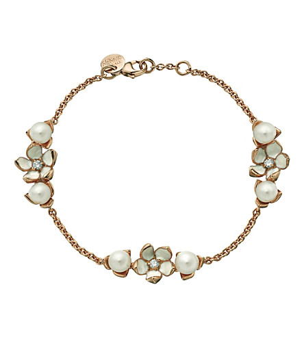 SHAUN LEANE Cherry Blossom rose-gold vermeil, ivory enamel, pearl and diamond 3-flower bracelet