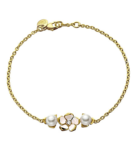 SHAUN LEANE Sterling silver gold vermeil single flower bracelet