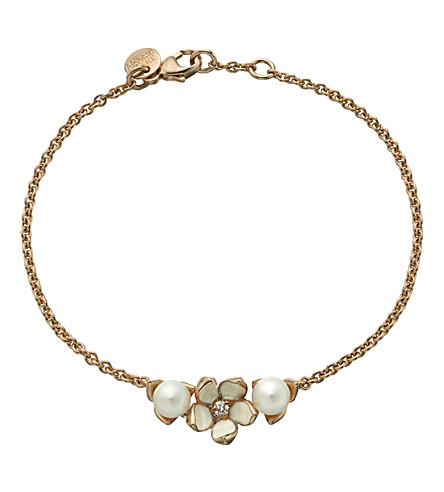 SHAUN LEANE Cherry Blossom rose-gold vermeil, ivory enamel, pearl and diamond single flower bracelet