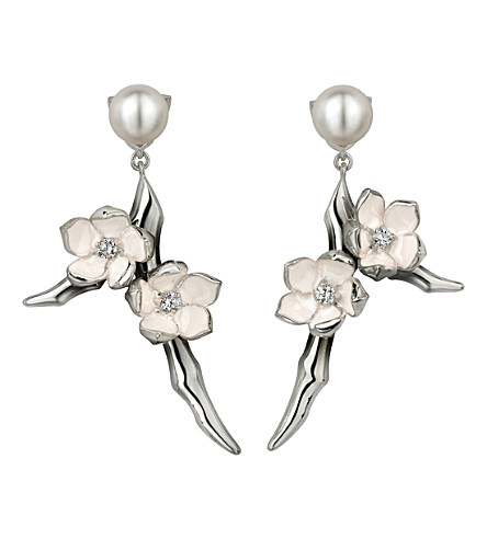SHAUN LEANE Cherry Blossom sterling silver, diamond and freshwater pearl earrings