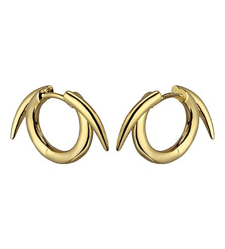 SHAUN LEANE Sterling silver gold vermeil thorned hoop earrings