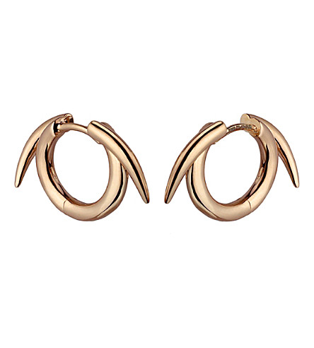 SHAUN LEANE Sterling silver rose gold vermeil thorned hoop earrings