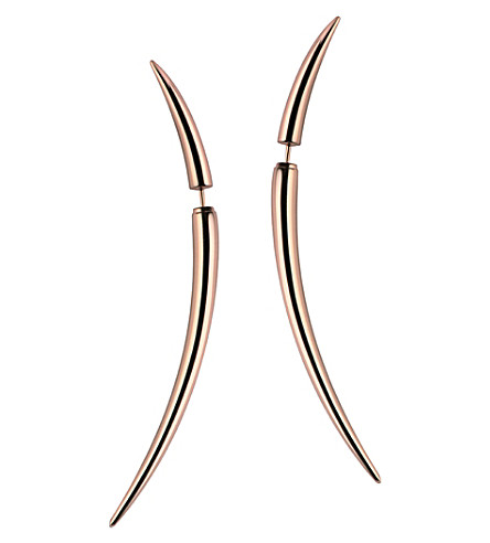 SHAUN LEANE Rose gold vermeil Quill earrings, size 2