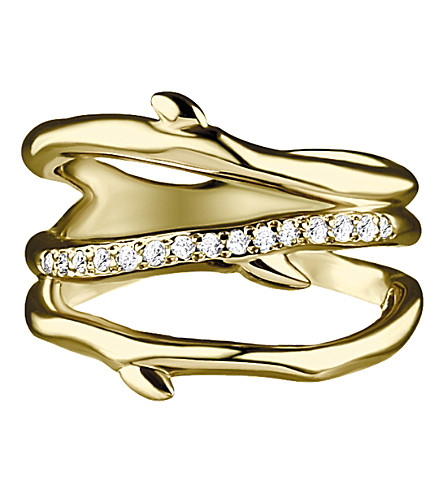 SHAUN LEANE Gold vermeil band cherry branch ring