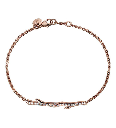 SHAUN LEANE Cherry Branch rose-gold vermeil and diamond bracelet