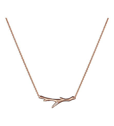 SHAUN LEANE Cherry Branch rose gold-vermeil and diamond necklace