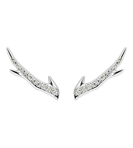 SHAUN LEANE Cherry Branch silver and diamond earrings