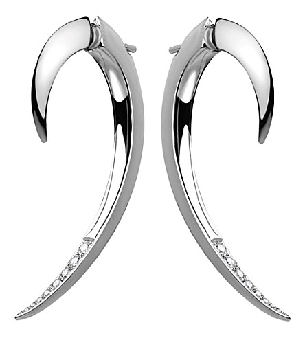 SHAUN LEANE Tusk sterling silver and diamond earrings