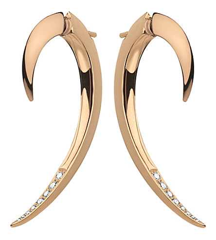 SHAUN LEANE Tusk rose gold and diamond earrings