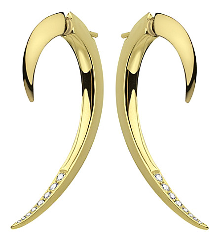 SHAUN LEANE Tusk yellow gold vermeil and diamond earrings