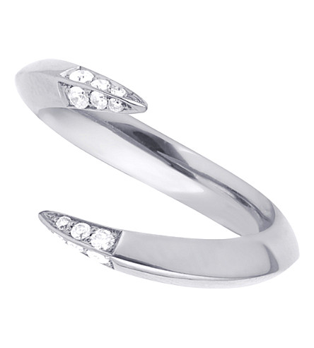 SHAUN LEANE Silver signature diamond open ring