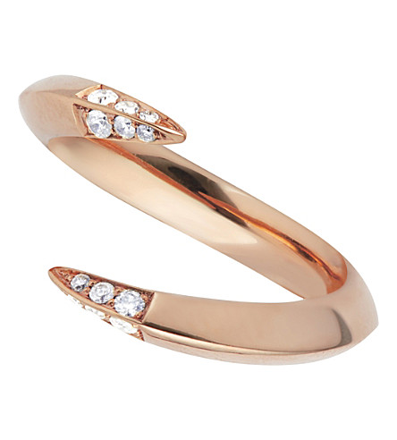 SHAUN LEANE Rose gold plate signature diamond ring
