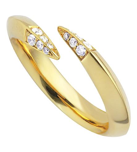 SHAUN LEANE Signature wrap gold vermeil and diamond ring