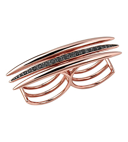 SHAUN LEANE Crossover quill rose gold vermeil ring