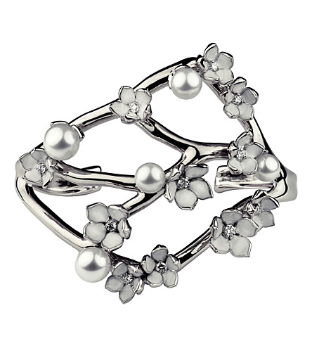 SHAUN LEANE Cherry Blossom sterling silver, diamond and pearl cuff
