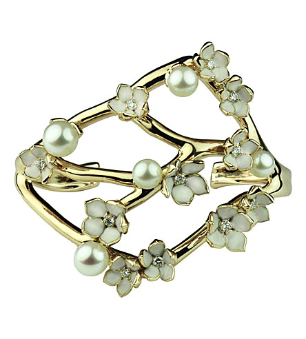 SHAUN LEANE Cherry Blossom yellow gold vermeil, diamond and pearl cuff