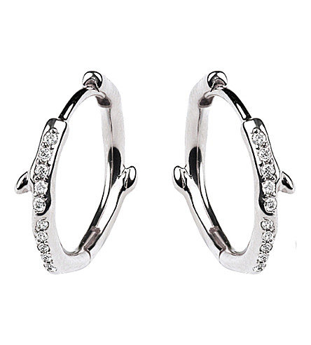 SHAUN LEANE Cherry Branch silver and diamond hoop earrings