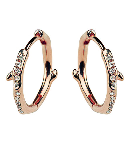 SHAUN LEANE Cherry Branch rose-gold vermeil and diamond hoop earrings