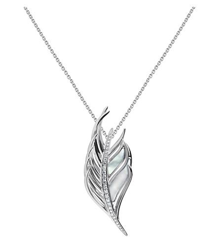 SHAUN LEANE 白羽毛钻石和珍珠母项链