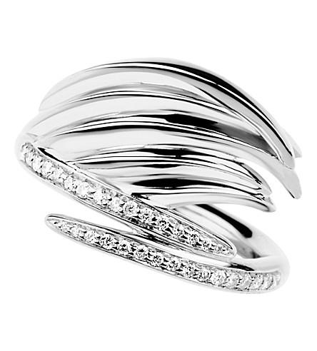 SHAUN LEANE 白色羽毛银色和金刚石圆环