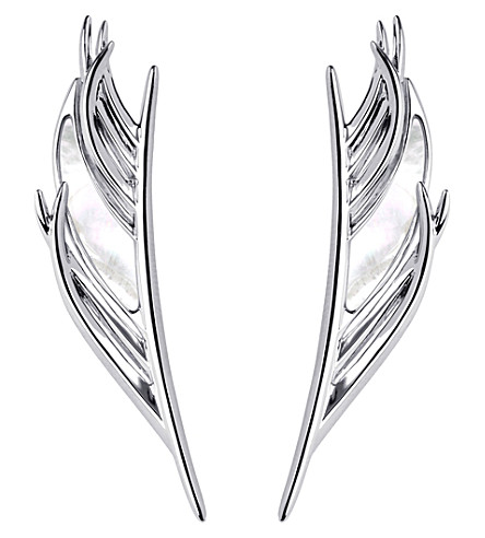 SHAUN LEANE White Feather silver and mother-of-pearl earrings