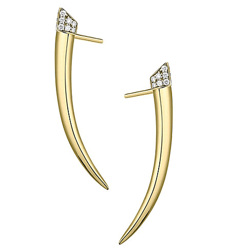 SHAUN LEANE Signature yellow-gold vermeil and diamond Tusk earrings