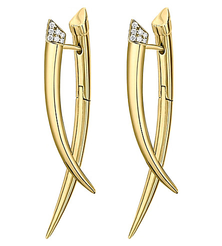 SHAUN LEANE Crossover Tusk yellow gold vermeil and diamond earrings
