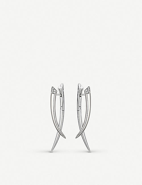 SHAUN LEANE Crossover Tusk Sterling Silver And Diamond Earrings