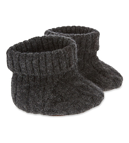 CARAMEL Cable-knit booties (Dark+grey